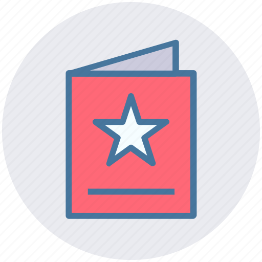 bookmark, card, greeting, invitation card, star icon