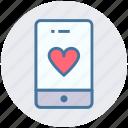 device, heart, love, mobile, phone, smartphone icon