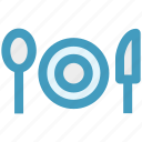 dinner, flatware, knife, plate, spoon, utensil icon