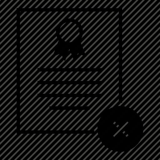cancel, certificate, delete, document, reject, remove, standard icon