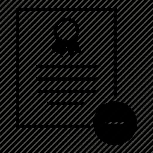 certificate, clear, delete, document, remove, standard icon