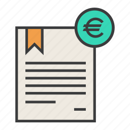 banking, business, certificate, euro, financial, statement, trade icon