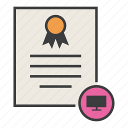 certificate, computer, features, guarantee, monitor, television, warranty icon