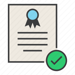 approve, certificate, certification, confirm, document, rules, standard icon