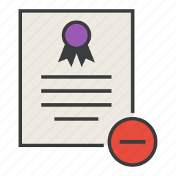 certificate, certification, delete, document, rules, standard icon