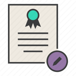 certificate, certification, document, edit, modify, rules, standard icon