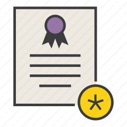 certificate, certification, document, important, rules, standard, star icon