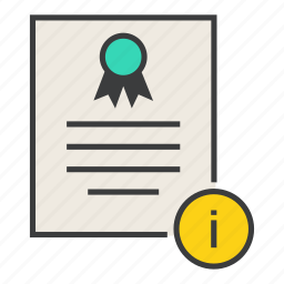 certificate, certification, document, info, information, rules, standard icon