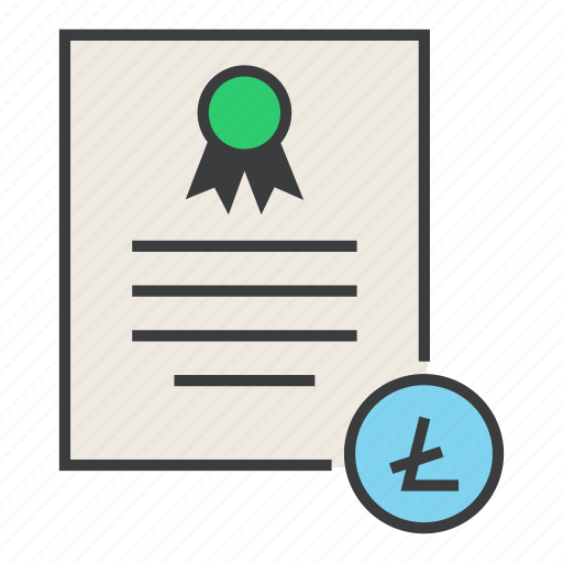 banking, business, certificate, ecommerce, financial, litecoin, statement icon