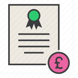 banking, business, certificate, financial, pound, statement, trade icon