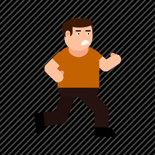 avatar, boy, character, frightened, gesture, human, run icon