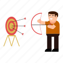 aim, character, man, shooting, success, target icon