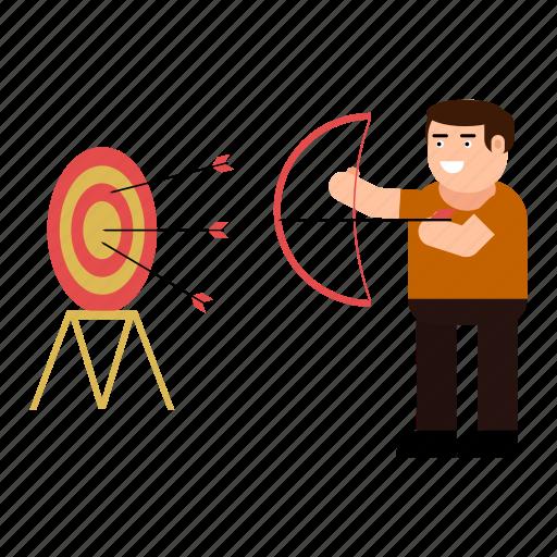 aim, character, man, shooting, success, target icon