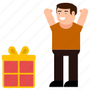 box, boy, celebration, character, gift, happy, surprise icon