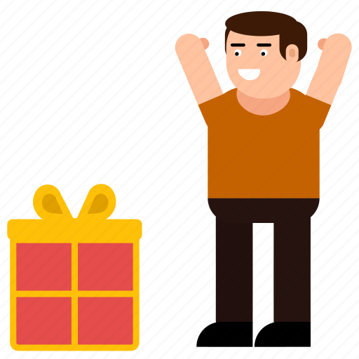 box, boy, celebration, character, gift, happy, surprise icon