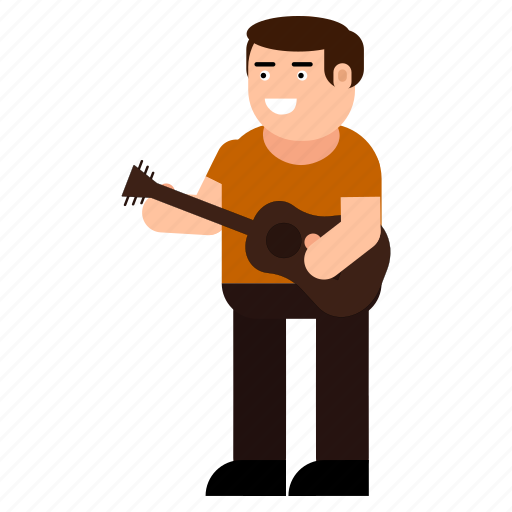 character, guitar, guitarist, instrumentalist, man, musician icon