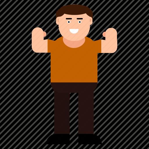 athlete, avatar, character, emoticon, happy, man, strongman icon