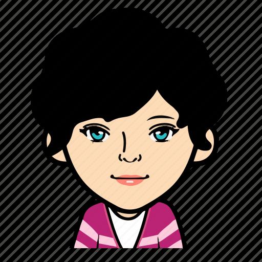 cartoon, female, girl, person, profile, user, woman icon