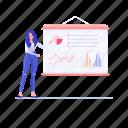 business presentation, data chart, graphical presentation, infographic, statistics icon