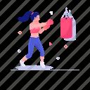 boxing bag, punching bag, punching box, sports accessory, sports equipment icon