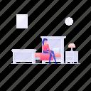 bedroom furniture, bedroom interior, clean bedroom, clean room, hotel bedroom icon