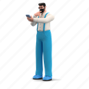 character, builder, mobile, device, smartphone, phone, man