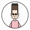 90s, cartoon, character, dude, face, fashion, gesicht, guy, hair, hair style, hairstyle, human, male, mann, men, mensch, people, smile, sun glasses, typ icon