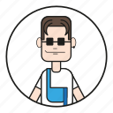 90s, cartoon, character, coll guy, cool, dude, dungarees, face, fashion, glasses, guy, happy, head, human, latshose, male, mann, men, mensch, nice guy, overalls, people, shirt, smile, sun glasses icon