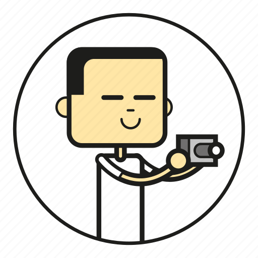 asia, camera, cartoon, character, chinese, dude, face, foreigner, foto, guy, happy, head, human, japan, japaner, japanese, kamera, male, mensch, people, photo, shirt, smile icon