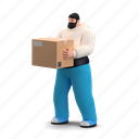 delivery, character, builder, box, logistic, package, transfer, hand