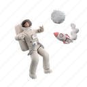 navigation, character, builder, outerspace, space, explore, discover, rocket, astronaut