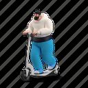 transportation, character, builder, scooter, transport, man, ride
