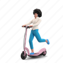 transportation, character, builder, scooter, transport, woman, ride