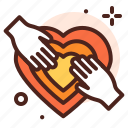 heart, giving, together, help, love icon