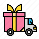 birthday, car, gift, give, holiday, present, transport icon