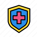 cross, medical, protection, shield icon