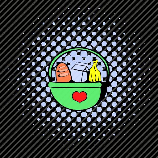 basket, bread, comics, food, healthy, organic, picnic icon