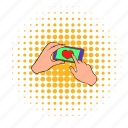 comics, hand, heart, mobile, phone, screen, telephone icon
