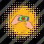 comics, hand, heart, mobile, phone, screen, telephone icon