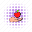 apple, comics, delicious, food, hand, healthy, natural icon