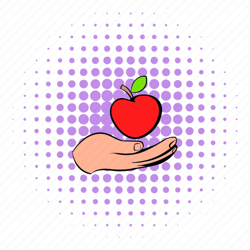 apple, comics, delicious, food, hand, healthy, natural icon