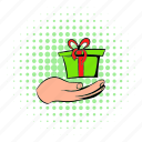 box, comics, gift, holding, holiday, present, ribbon icon