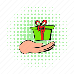 box, comics, gift, holding, holiday, present, ribbon icon
