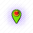 comics, heart, location, map, mark, place, pointer icon