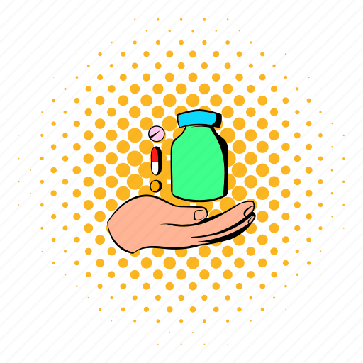 bottle, comics, give, hand, help, medical, pill icon