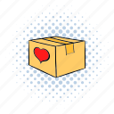 box, cardboard, close, comics, heart, love, package icon