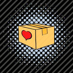 box, cardboard, close, comics, heart, love, package icon