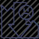 decrease, loss, down, presentation icon
