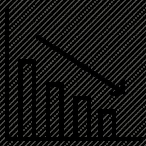 arrow, bars, chart, decrease, diagram, graph, statistics icon