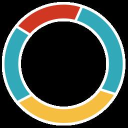 black background, diagram, donut chart, presentation, schedule icon